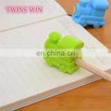 Yiwu High quality schoo office stationery item cheap promotion professional mini train shaped plastic pencil knife sharpener