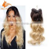 Ombre Color Micro Loop Hair Extensions #4-613 1g/Strand 100g/pack Two Tone Virgin Human Hair Micro Ring Hair Extensions