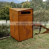 Mid century corten steel metal modern waste bin for urban street