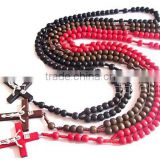 NEW WOOD BEADS MACRAME ROSARY NECKLACE CROSS CRUCIFIX with JESUS SILVER IMPRINT