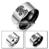 316L Stainless steel men's ring cross retro swagger Punk rock goth band boyfriend gift