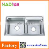 Guangdong Factory Kitchen Design 304 &201 Stainless Steel Double Laundry Sink HD8143B