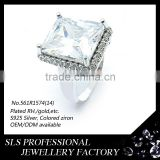 Wholesale italian jewelry zircon ring for men silver bezel setting rhodium ring gemstone Image