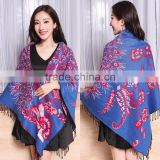 Wide Square Jacquard Peacock Stole Shawl Scarf