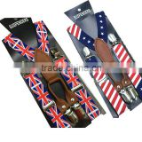 USA flag kid's Suspender Unisex children Clip-on UK Braces baby boy's Elastic Suspender Y-Back Suspenders 4 clips