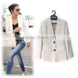 2014 Latest designer elegant quality white single breasted long sleeve fashion suit jacket women D31