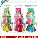Export Euro USA hanging lady bag storage display rack 2 sides clear folding fashion handbag holder rack