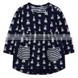 New girls cotton printed long-sleeved with pocket casual top clothes