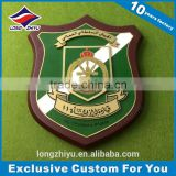 Custom-made wooden award plaque bases shield trophy with zinc alloy metal plate