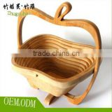 Apple Shaped Bamboo Folding Basket- Collapsible Fruit Stores Flat