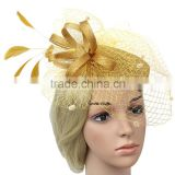 2015 New bride hair feather small hat retro Unique Birdcage Veil Flower Pillbox Wedding Hat Head Pieces for women