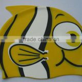 color silkscreen printing cartoon goldfish silicone swimming caps for children