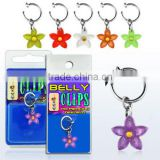 Fake Dangling Belly Button Rings With Acrylic Flower