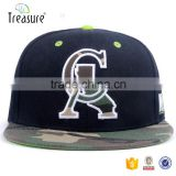 Custom hat supplier felt embroidery logo design camo flat brim snap back closure hip hop cap                                                                                                         Supplier's Choice