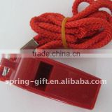 promotion plastic whistle with cord rope