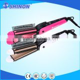 Shinon 4 in 1 professional hair curling iron and hair straightener crimping iron with anti scalp comb