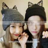 2015 trendy winter warm hats with cat ear acrylic hat