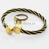 Finest jewelry stainless steel cable wire bangle gold black jewelry sets bangle and ring 2014