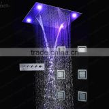 Luxury ceiling bathroom accessories LED rain SPA shower head set mixer cold and hot water valve 6pcs massage body spray jets set