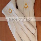 High quality Masonic White Leather Gloves With Best Embroidery