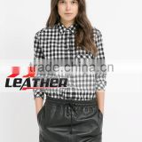 Women high quality Faux leathExposed back zipper leather pencil skirter trim skater skirt