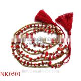 New Fashion designs Long red coral Tassel Pendant Necklace For Women Colar with copper beads