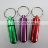 Aluminum pill holder keychain