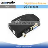 High resolution TV RCA Composite S-video AV In to PC VGA LCD Out Converter Adapter Box Black