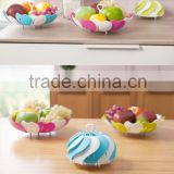 modern design High Quality Factory Wholesale Decorative plastic Fruit Bowl flowers shape retractable Fruit basket