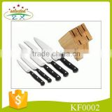 6pcs practical kitchen knife set with bamboo knife block