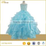 Ruffles beaded full long strap father gift for children birthday party dress