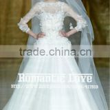 R13610 2013 Barcelona summer show see-through 3/4 long sleeve lace wedding dress