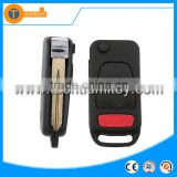 3 + 1 button flip remote key blank case shell with 4 track uncut blade fob replacement for Mercedes Benz
