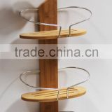 3-shelves hanging bathroom bamboo wire rack with hooks