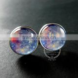 20mm silver plated blue galaxy universe art collage round glass cabochon fashion cufflinks wedding cuff link gift 6600057
