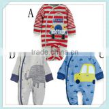 Boy winter romper Cartoon cotton Long sleeve Cars and animal patterns infant jumpsuit baby clothing Image
