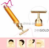 High Quality vibrating home use device Personal Care Face Lift face beauty facial massager 24K gold bar