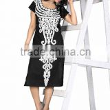 Pure cotton Black color Kurti with white embroidery