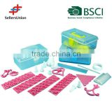 BSCI Member , 2015 New design and LFGB! 100PCS Plastic Cake Baking Tools, Decoration Tools and biscuit mould for kids