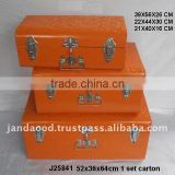 Orange Colour powder coated Iron storage trunks with embossed patterns