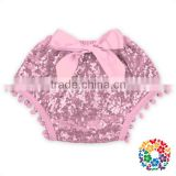 Light Pink Boutique Baby Girls Shorts Front Bow With Pom Pom Cotton Sequins Bloomers