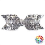 new style silver sequin hair bow clips for baby girl