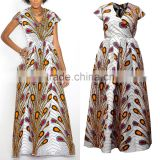 White Peacock Feathers African Print Patterns Faux Wrap Maxi Dress African Dashiki HSd5030