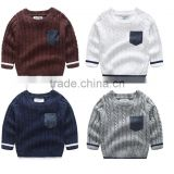 Hot fashion cotton private label crew neck korean sweater knitting pattern