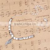 "Link Cable Chain Antique Silver & Silver Plated Wing Copper Morse Code "" DREAM "" Bracelets"