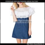 New Latest Girls Sweet Ruffle Mesh Casual Denim Mini Dress Women Patchwork Designs For Dresses
