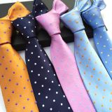 Orange Classic Strips Mens Jacquard Neckties Solid Colors Double-brushed
