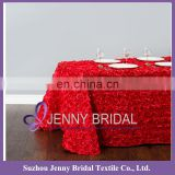 TC031C3 Red Rosette satin table cloth satin rose table cloth embroidered flower design table cloth