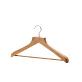 Quality Low Price Wooden Suit Hangers Contour Body with Round Bar for Coats