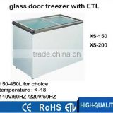 110V 60HZ energy saving commercial glass door freezer,mini china display freezer with ETL